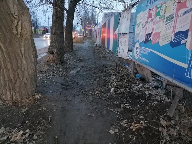Тротуар в Таганроге по нечётной стороне Поляковского шоссе