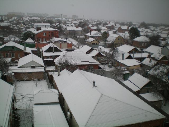 Снегопад в Таганроге 6 марта 2021 года